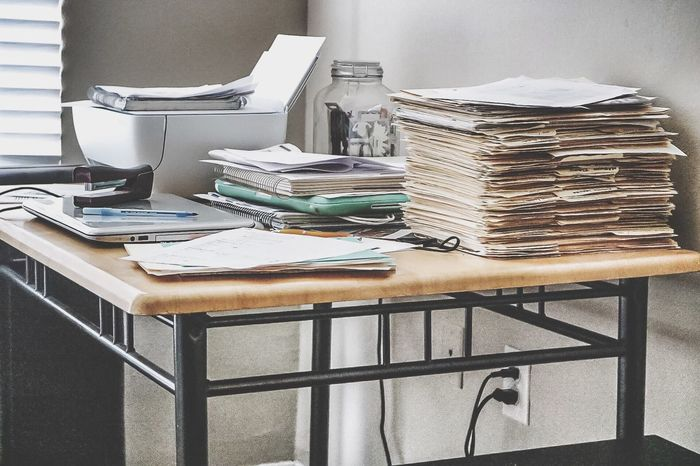 Indoors  Group Of Objects In A Row Large Group Of Objects Arranged Order Abundance No People Collection Desk Messy Desk Work Working Hard Genius Clutter Work Space Paper Files