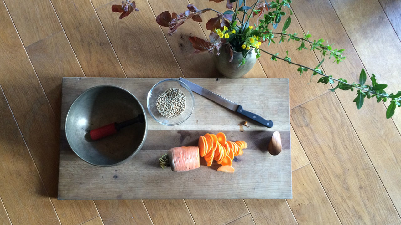Carrot Day Elevated View Freshness No People Oloid Singing Bowl Still Life Wood - Material Home Is Where The Art Is