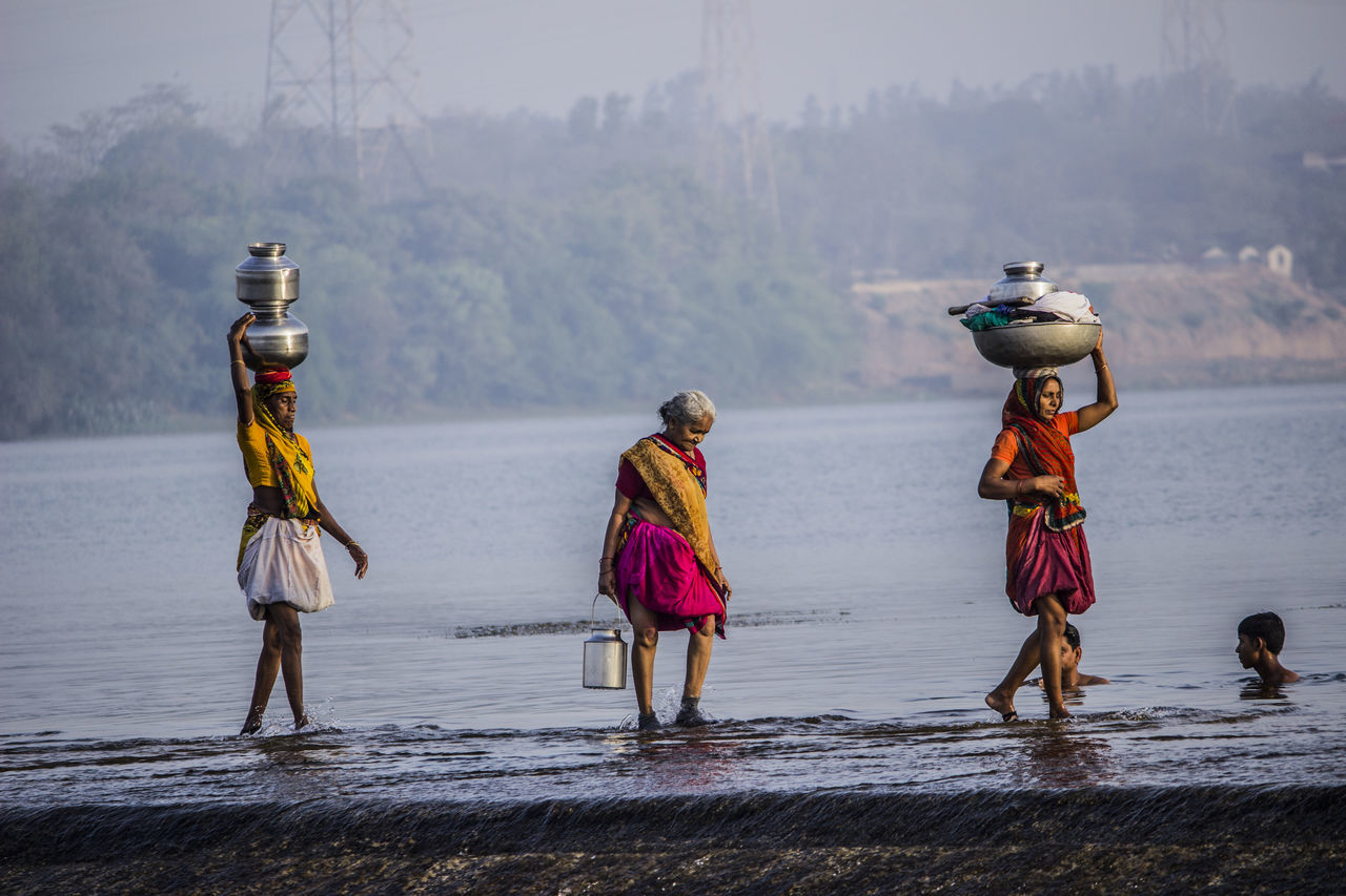 3 indian ladies Checkdam Friends River Sindhrot Three Women With First Eyeem Photo