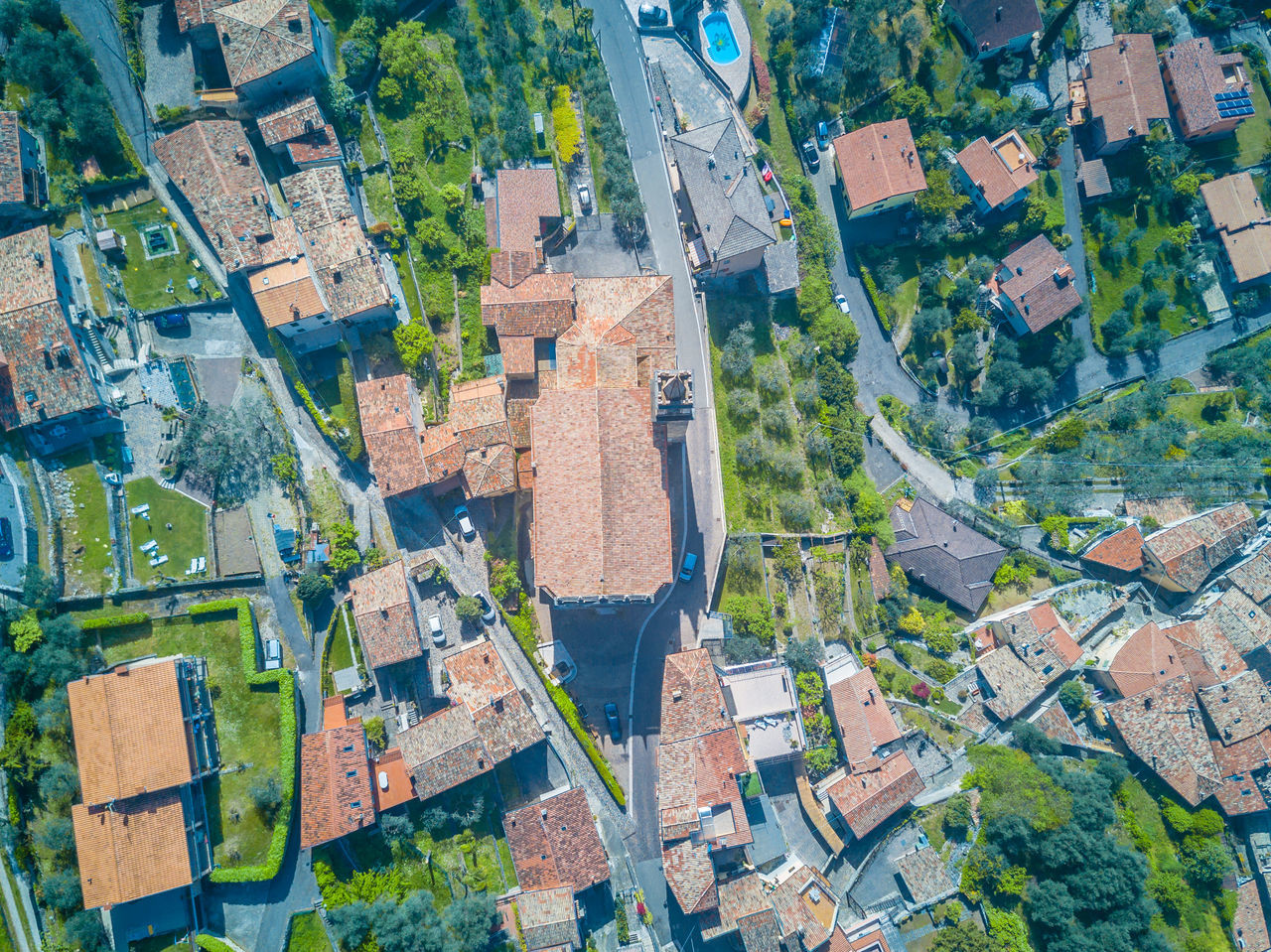 Aerial View Of Buildings At Brenzone Sul Garda