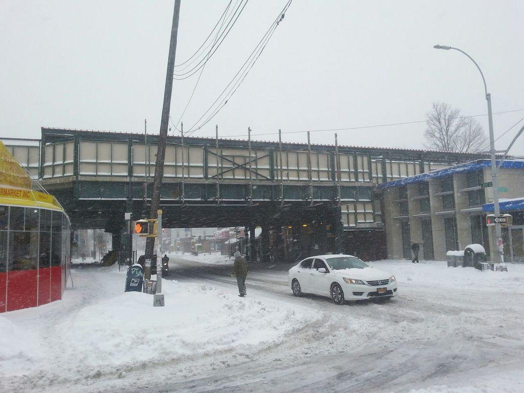 """Avenue U Station """"Q"""" Taking Photos Sheepshead Bay Snow"""