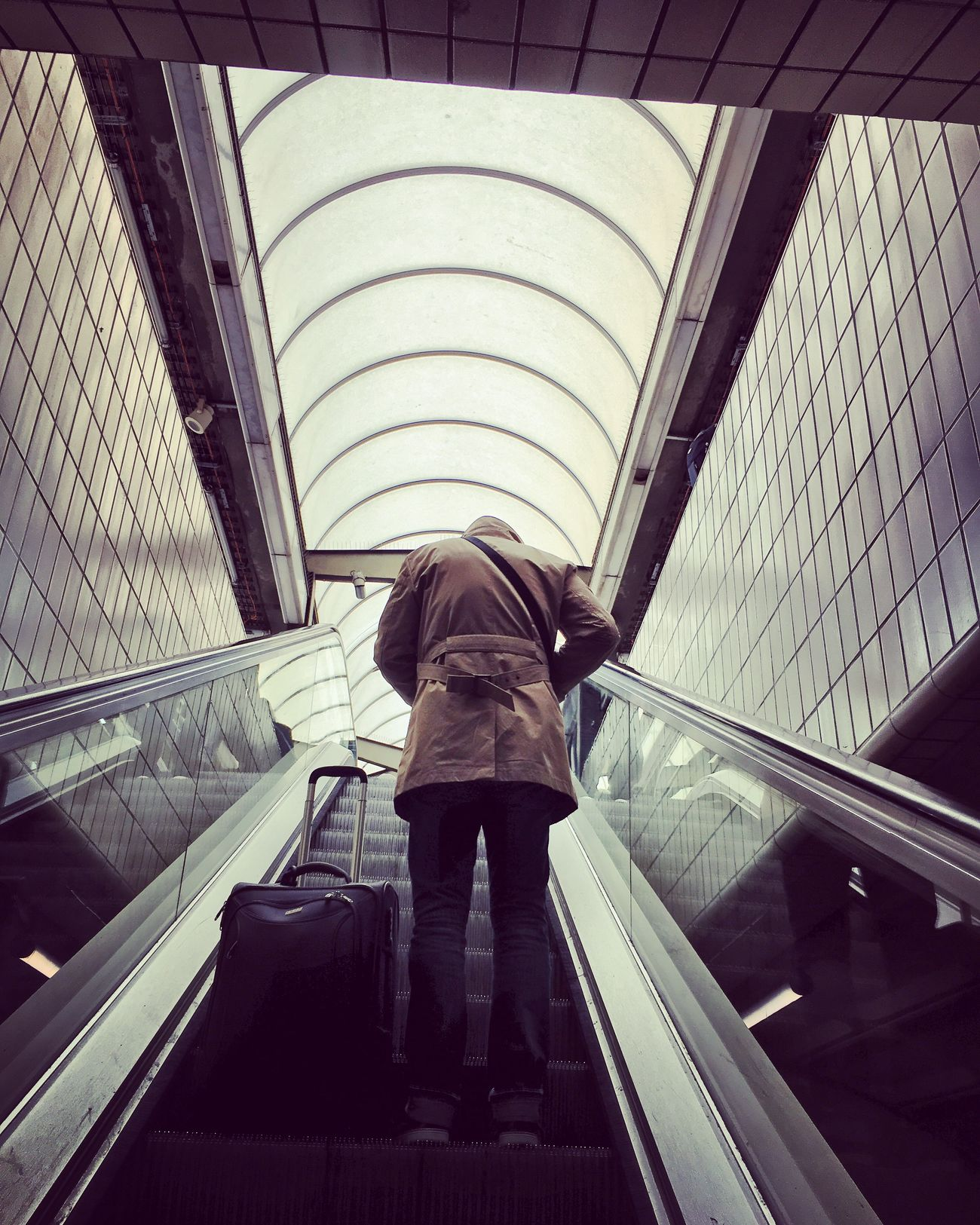 The Headless Man Lyon Station Escalator Perspective Low Angle View Geometry Urbanphotography Traveler Suitcase Trip Light And Shadow Lines Mmaff From My Point Of View Eye4photography  EyeEm Gallery Taking Photos Hello World EyeEm Best Edits