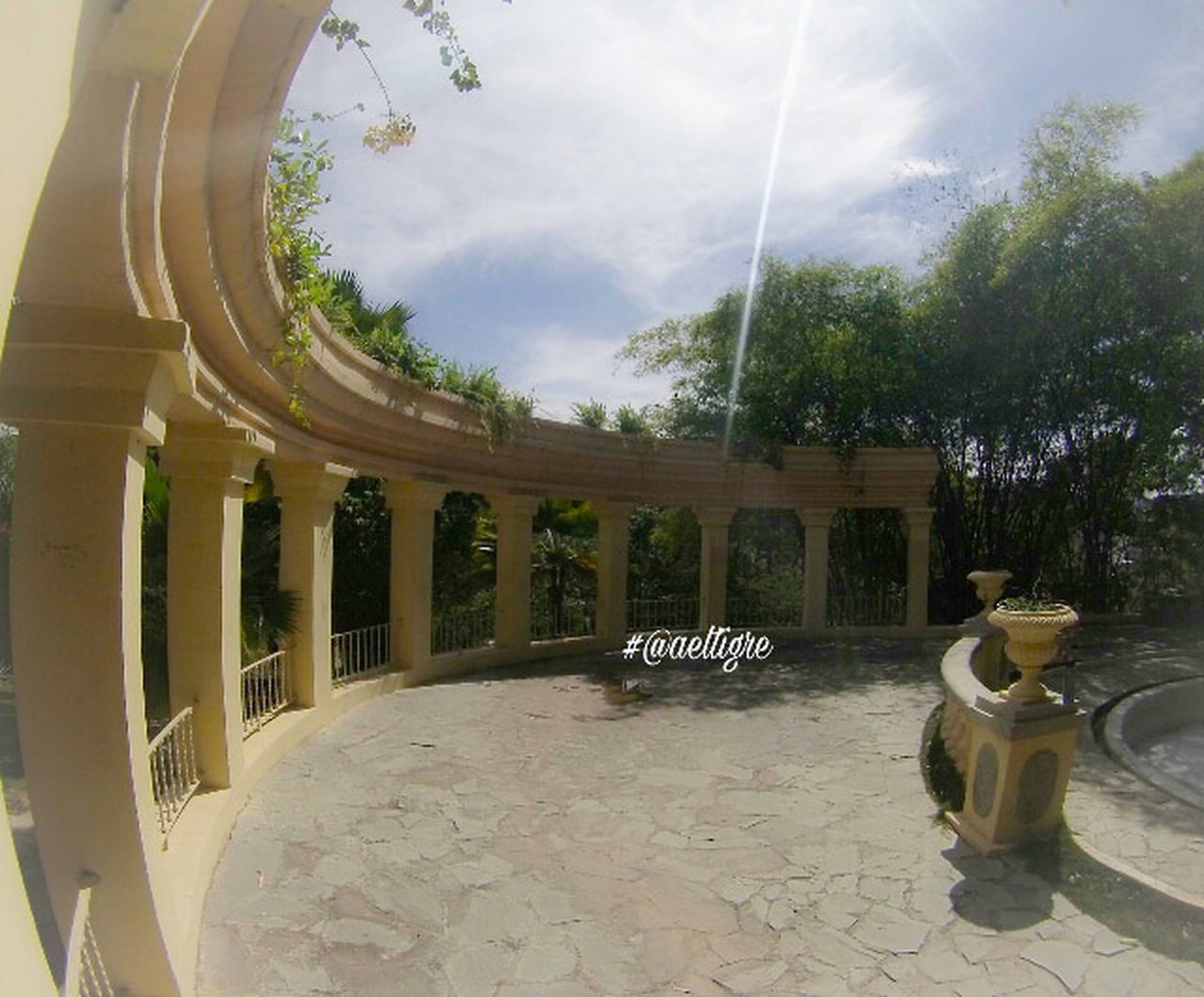 tree, sky, day, architecture, fish-eye lens, sculpture, outdoors, no people, nature