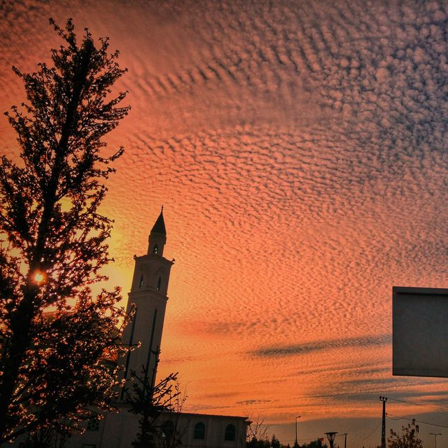 Sundown Skysunvariation Sky Red Sky_ Collection Mosque Turkey