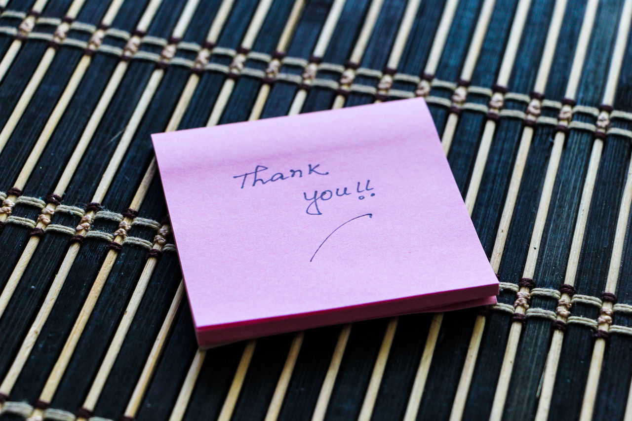 Close-up Day Handwriting  Indoors  No People Paper Pink Color Reminder Text Thank You Thank You Eyeem Thank You My Friends 😊 Thank You ❤ Thankfulforever Thanksgiving Thankyou