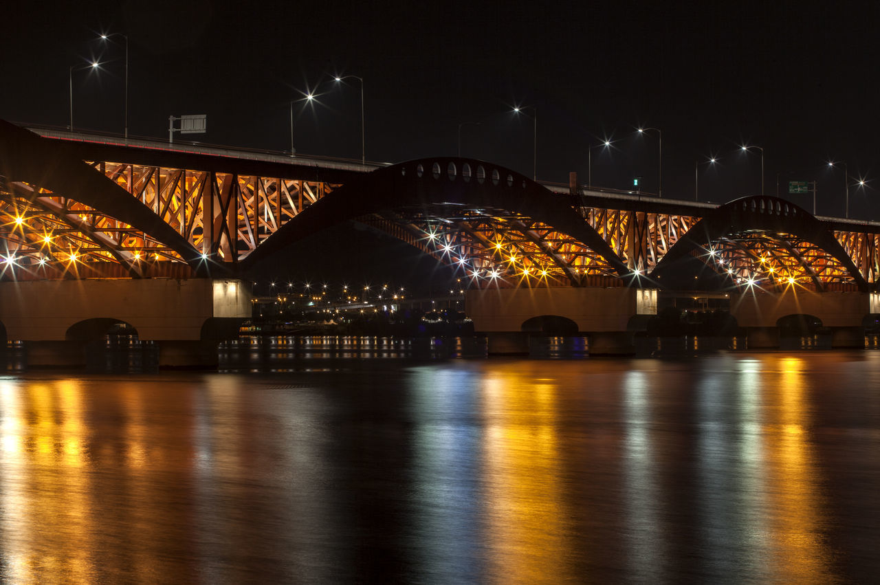 illuminated, night, bridge - man made structure, arch, architecture, connection, built structure, water, no people, building exterior, city, outdoors, sky