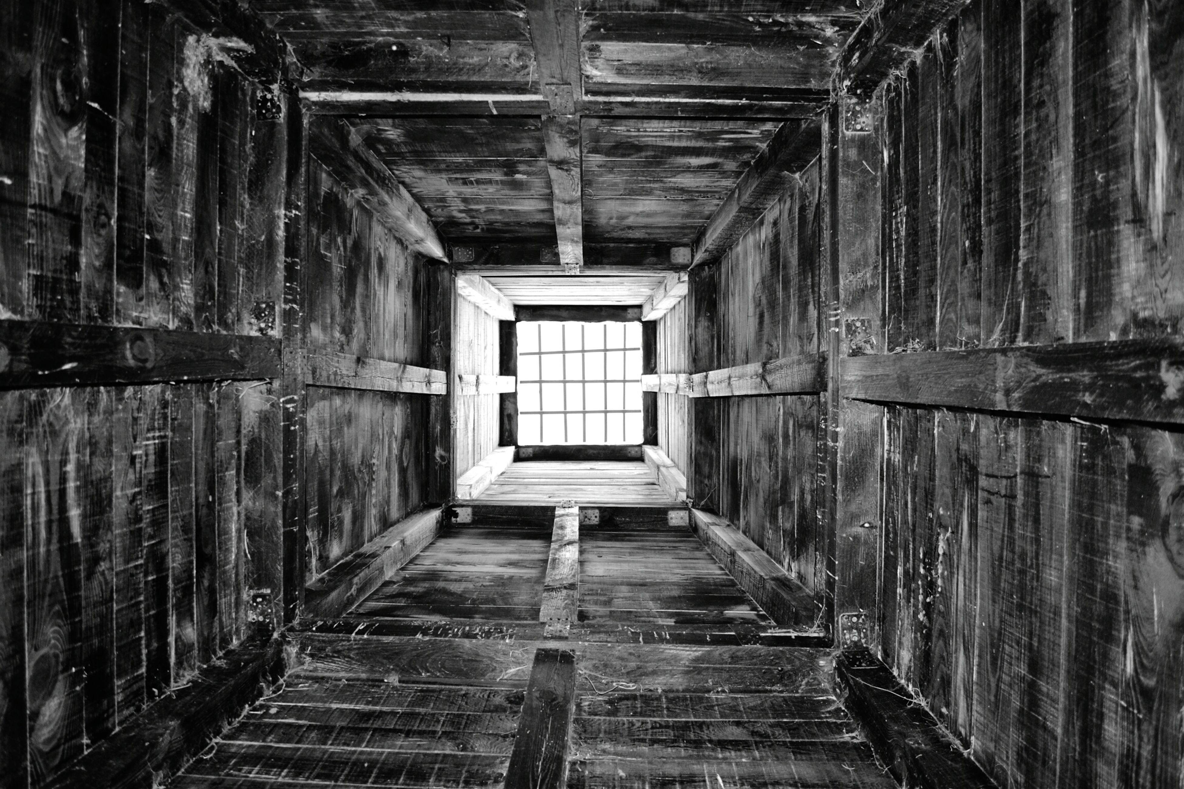 architecture, the way forward, built structure, indoors, abandoned, old, diminishing perspective, narrow, damaged, obsolete, deterioration, corridor, run-down, weathered, empty, wood - material, ceiling, wall - building feature, absence, building