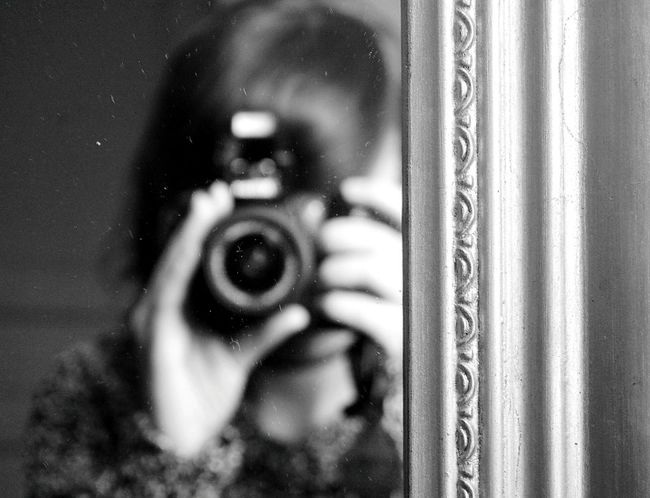 Photographing Reflection Photography Themes One Person Real People Camera - Photographic Equipment Holding Photographer Mirror Picture Mirror Blackandwhite
