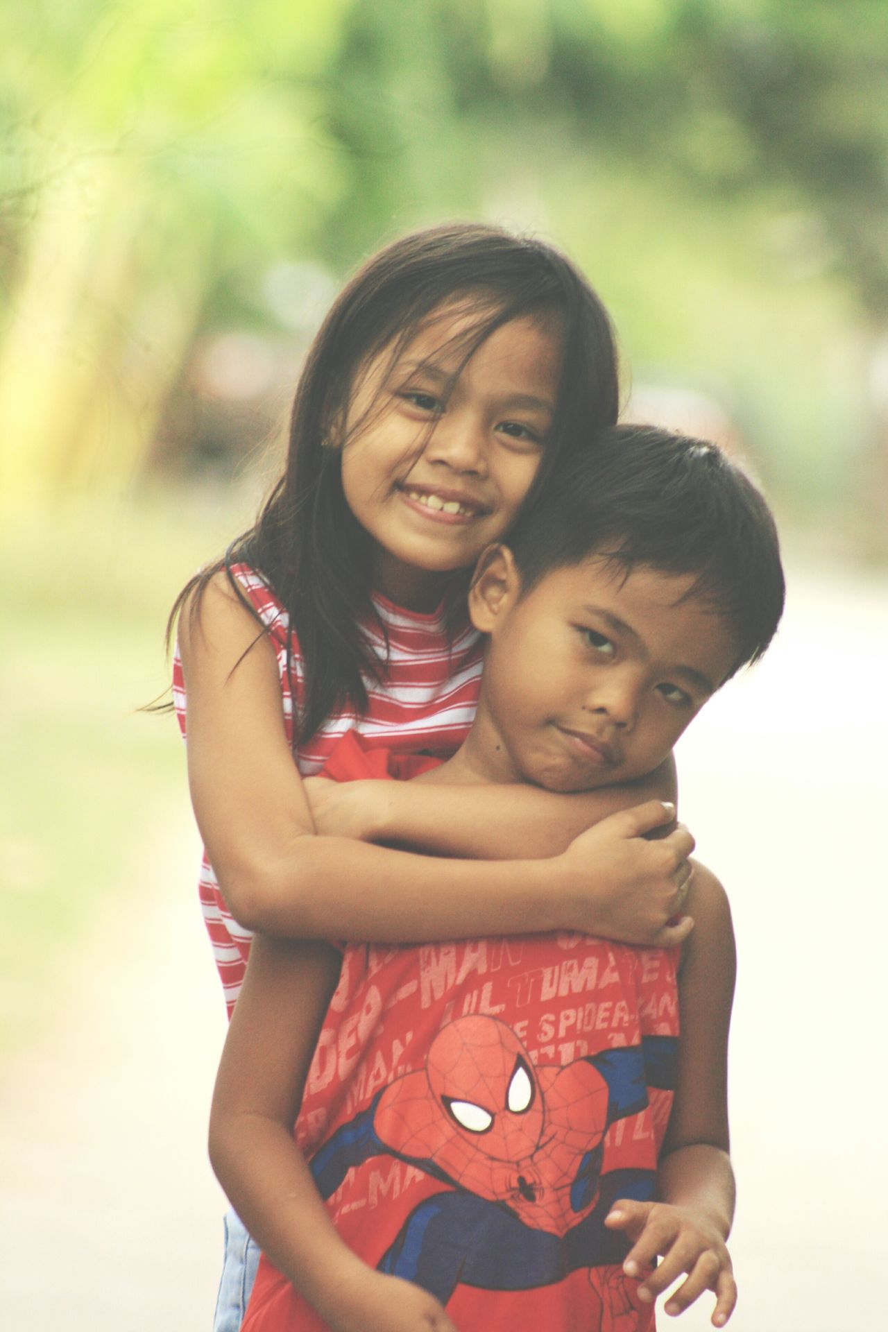 Siblings Child Embracing Smiling Happiness Affectionate Family Offspring Portrait Togetherness Outdoors Portrait Photography Portraits Uniqueness Cheerful Eyeem Weekly EyeEm Week Visualsoflife Photographylovers EyeemPhilippines EyeEm Gallery Photography Taking Photos EyeEm Philippines Day