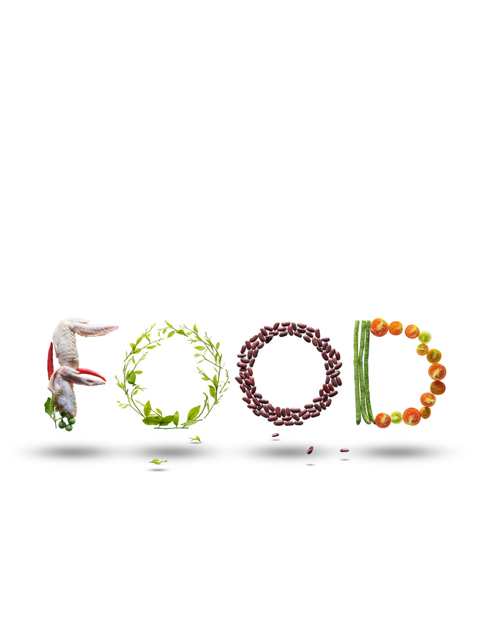 Font that made from food ingredients levitate in mid air. Basil Chicken Chilli Cuisine Food Fresh Healthy Eating Ingredients Levitate Melientha Suavis Red Kidney Bean Tomato Turkey Berry White Background Yardlong Bean