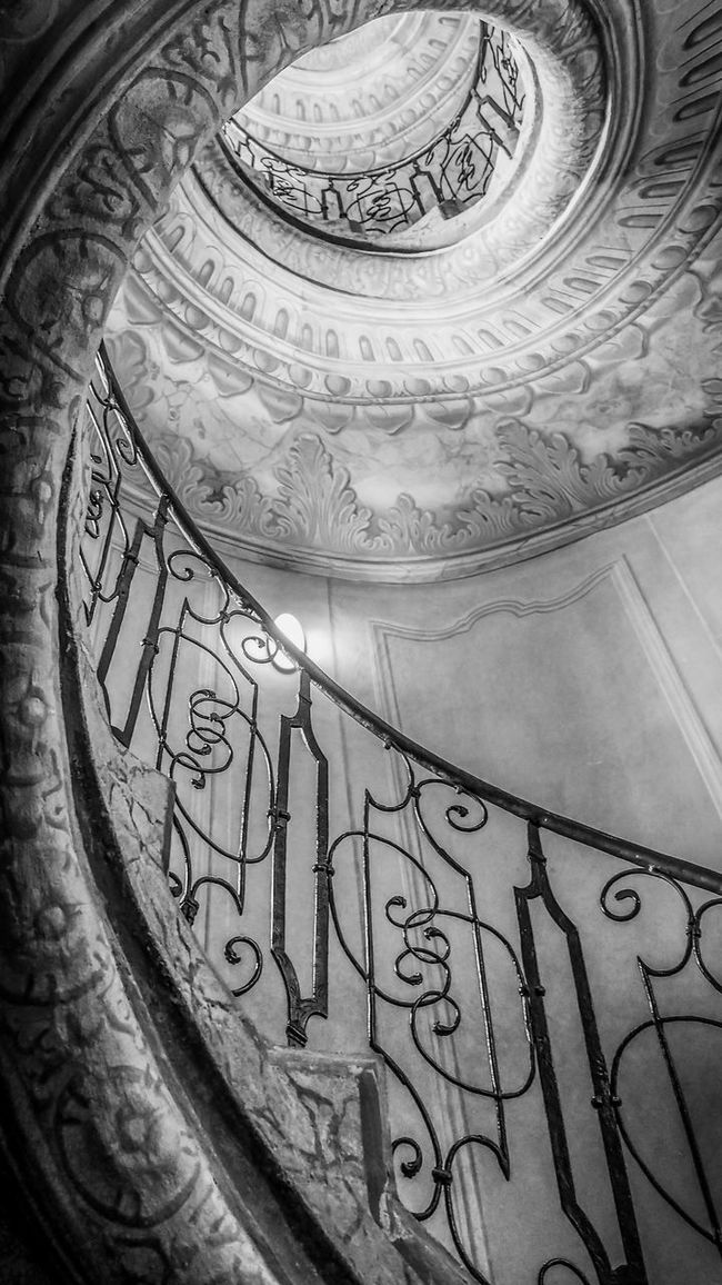 Architectural Feature Black & White Black And White Bradley Olson Bradleywarren Photography Coil Monochrome Photography Geometric Shape History Indoors  Light Light And Shadow Looking Down Looking Up Memories Monochrome Monument Railing Railings Spiral Staircase Stairs Stairway Stairways The Past