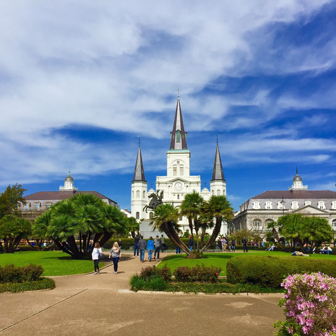 A view of Jackson Square - Nola 2016! Architecture Sky Outdoors Tree Cloud - Sky New Orleans Jackson Square Scenic Blue Sky Tourist Attraction  Tourism French Quarter Building Exterior Beautiful Background Picturesque