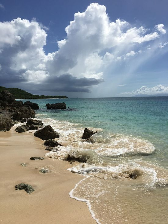 Sea Beach Water Sky Cloud - Sky Sand Horizon Over Water Wave Beauty In Nature Beach Life WestIndies Antilles Françaises Marie Galante Guadeloupe