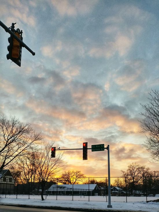 Cloud - Sky Sky Sunset No People Tree Stoplight Nature Outdoors