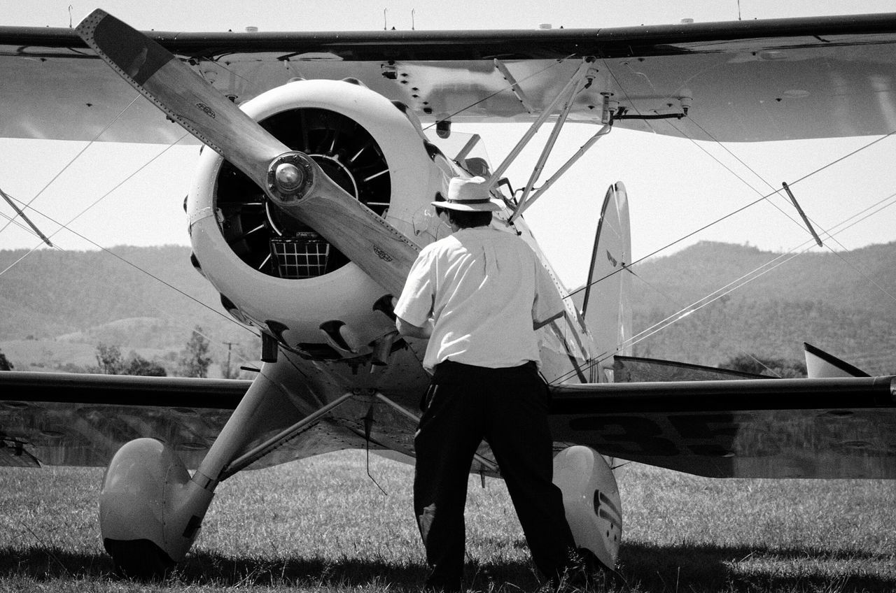 One Person Real People Hat Rear View Airshow Nikon D5100  Propeller Airplane Black&white Waco Startup