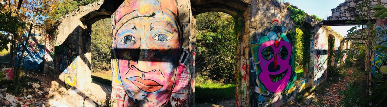 Graffiti Art And Craft Creativity Street Art Multi Colored Human Representation Architecture Tree Outdoors No People Painted Image Close-up Art Pop Art Inspired Graph Nature Vacations France EyeEm Selects Moments Mood Capture The Moment Picoftheday Collection Built Structure