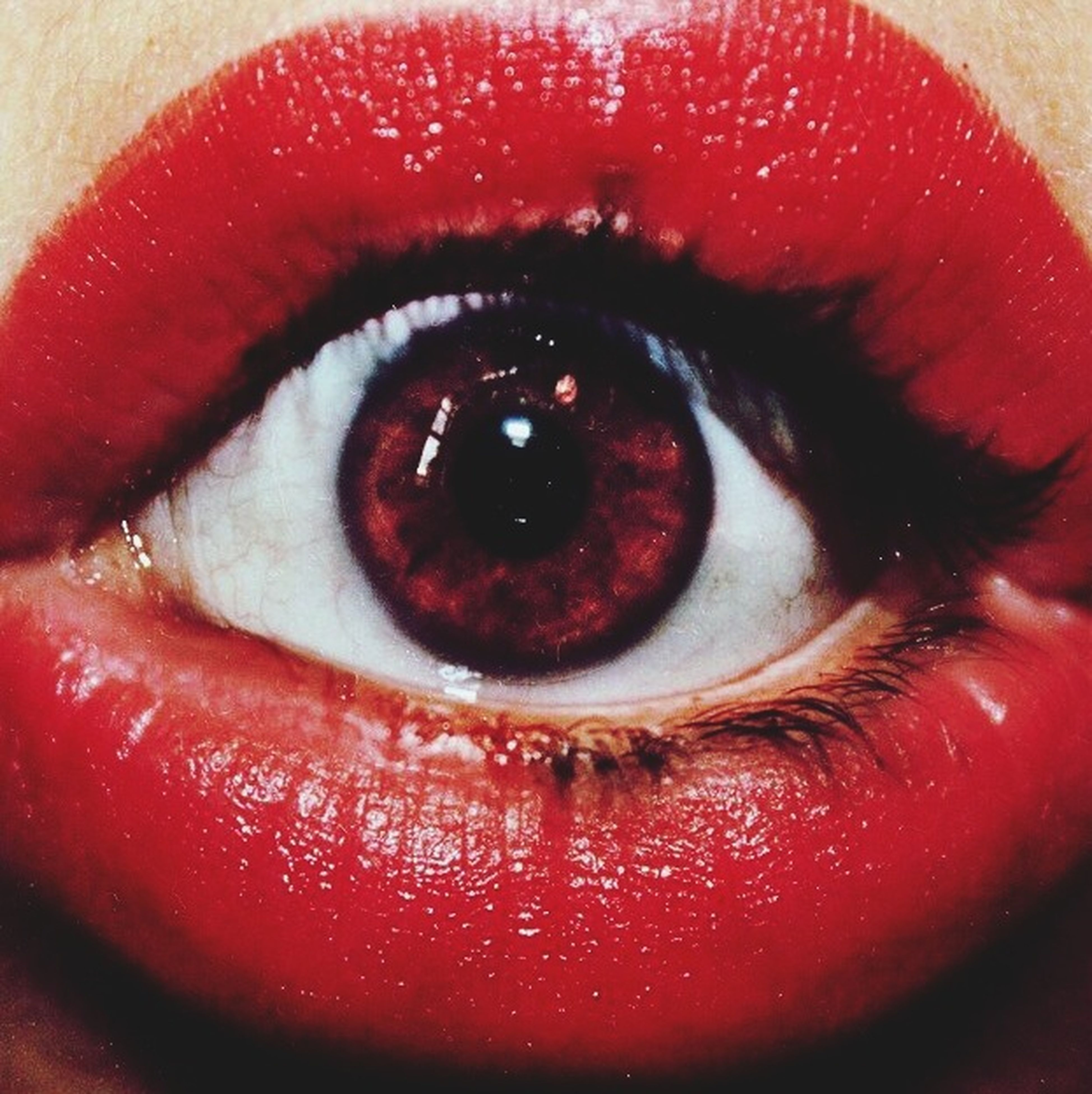 red, close-up, indoors, human eye, eyelash, part of, portrait, extreme close up, extreme close-up, looking at camera, lifestyles, unrecognizable person, human face, person, eyesight, eyeball, cropped