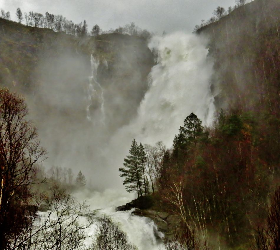 Beauty In Nature Big Waterfall Brydalsfossen Epic Nature Hordaland Impressive Locations Landscape Matre Nature Nature Outdoors Rainy Days Raw Nature Rawr! Scenics Snow Stormy Weather Tranquil Scene Tranquility Tree Waterfall Waterfalls Westernnorway
