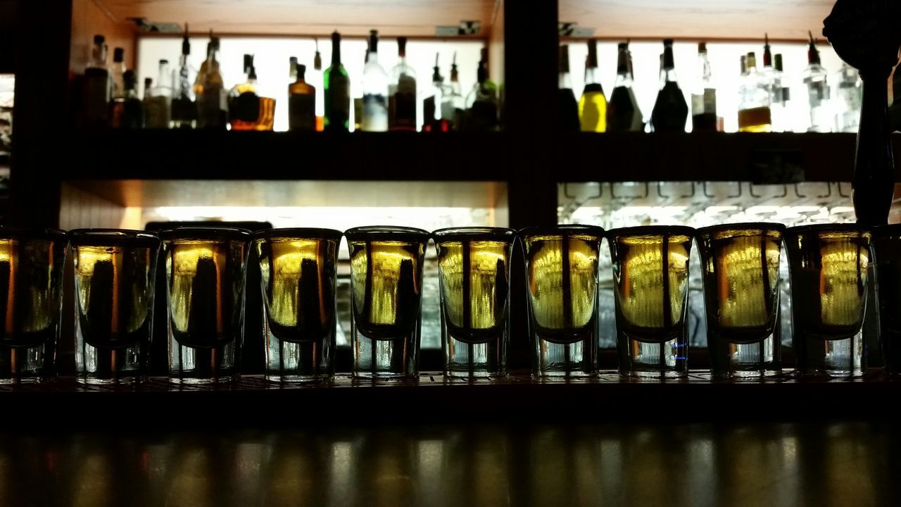 Alcohol Served In Glasses In Bar