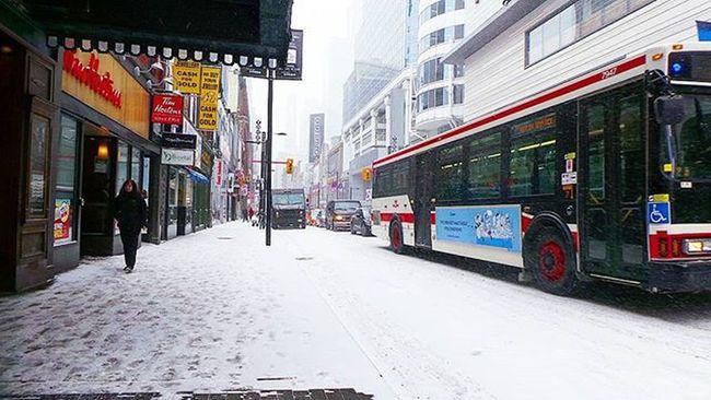 How quickly things change . . Changeistheonlyconstant Change Snow Snowy Toronto Torontotransit TTCBus Shuttlebus Traffic The6 The6ix Thesix Tdot  TheCity Canadianwinter Canada Canadian Ontario Wethenorth Timhortans Timmys Photographyislife Photographyislifee