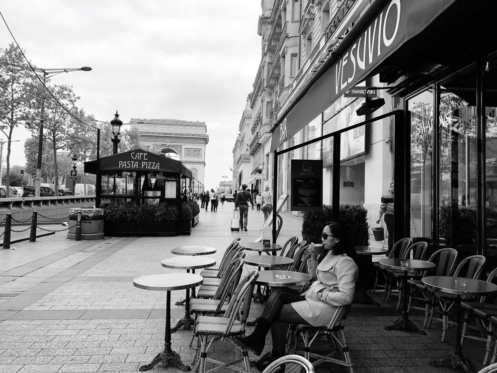 Morning coffee ❤️ Building Exterior Architecture Table Chair Outdoor Cafe Built Structure Cafe Sidewalk Cafe Outdoors Real People Restaurant Day Sitting Sky Women Men Group Of People City Large Group Of People People