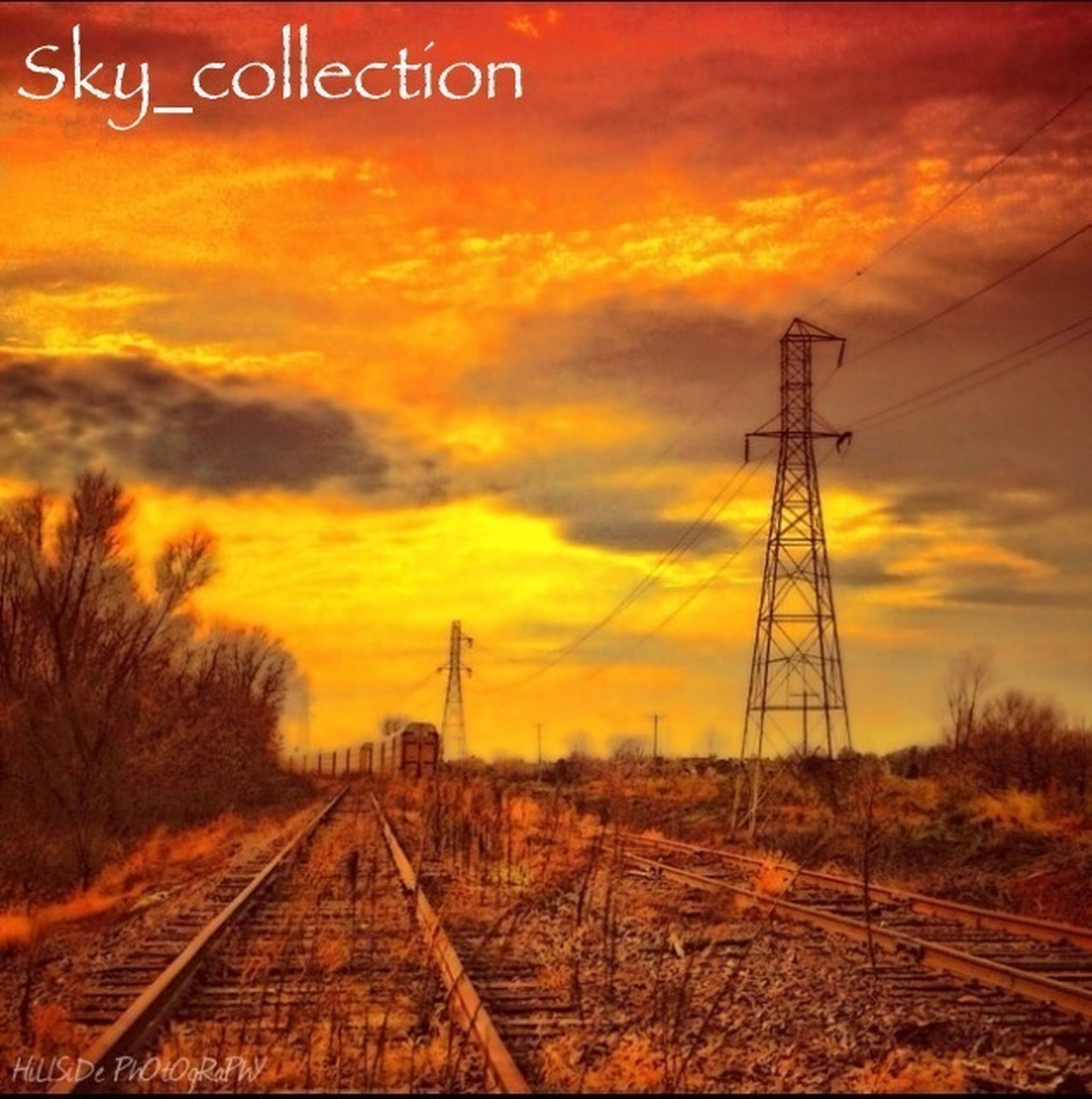 sunset, electricity pylon, sky, power line, orange color, railroad track, power supply, cloud - sky, electricity, fuel and power generation, transportation, rail transportation, landscape, connection, nature, cable, dramatic sky, cloud, the way forward, technology