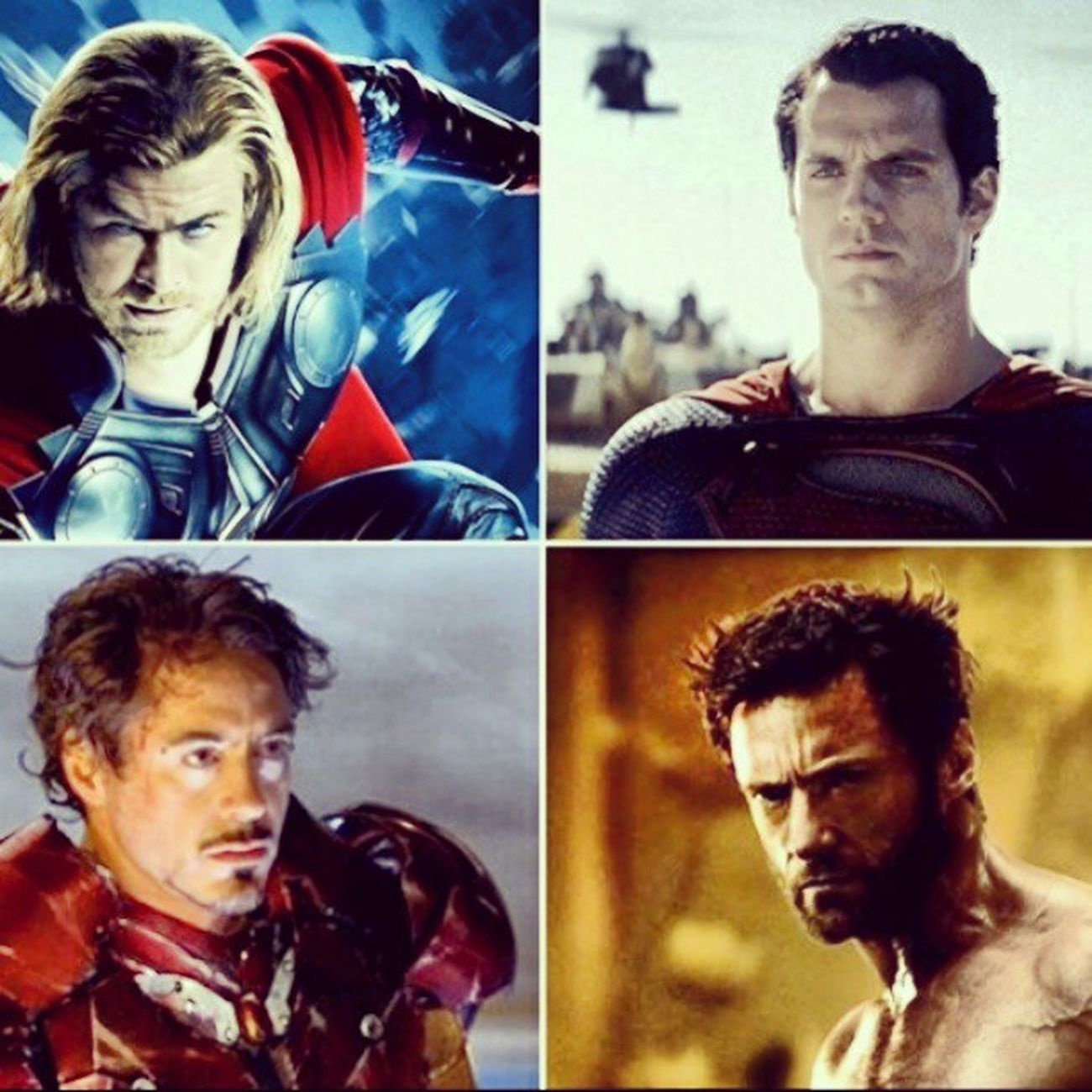 the four biggest superhero movies for this year Thewolverine Manofsteel Ironman3 and Thordarkworld