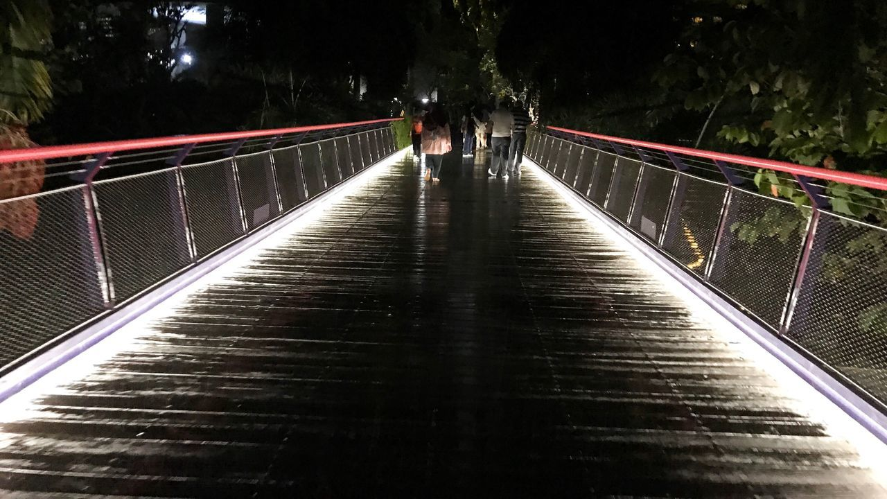 Bridge with lighted aisle Real People Nature Sky Night Bridge Light Aisle Light Aisle Night Bridge Dark Night Sky Night Vision Night Sky