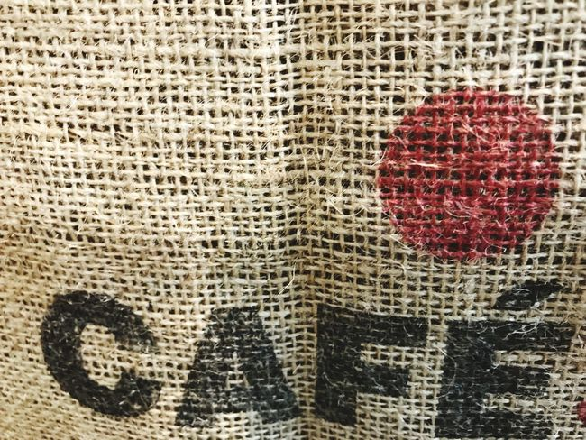 Cafe Coffee Textures and Surfaces Text Linen Sack Backgrounds Pattern Full Frame Textured  No People Close-up Day