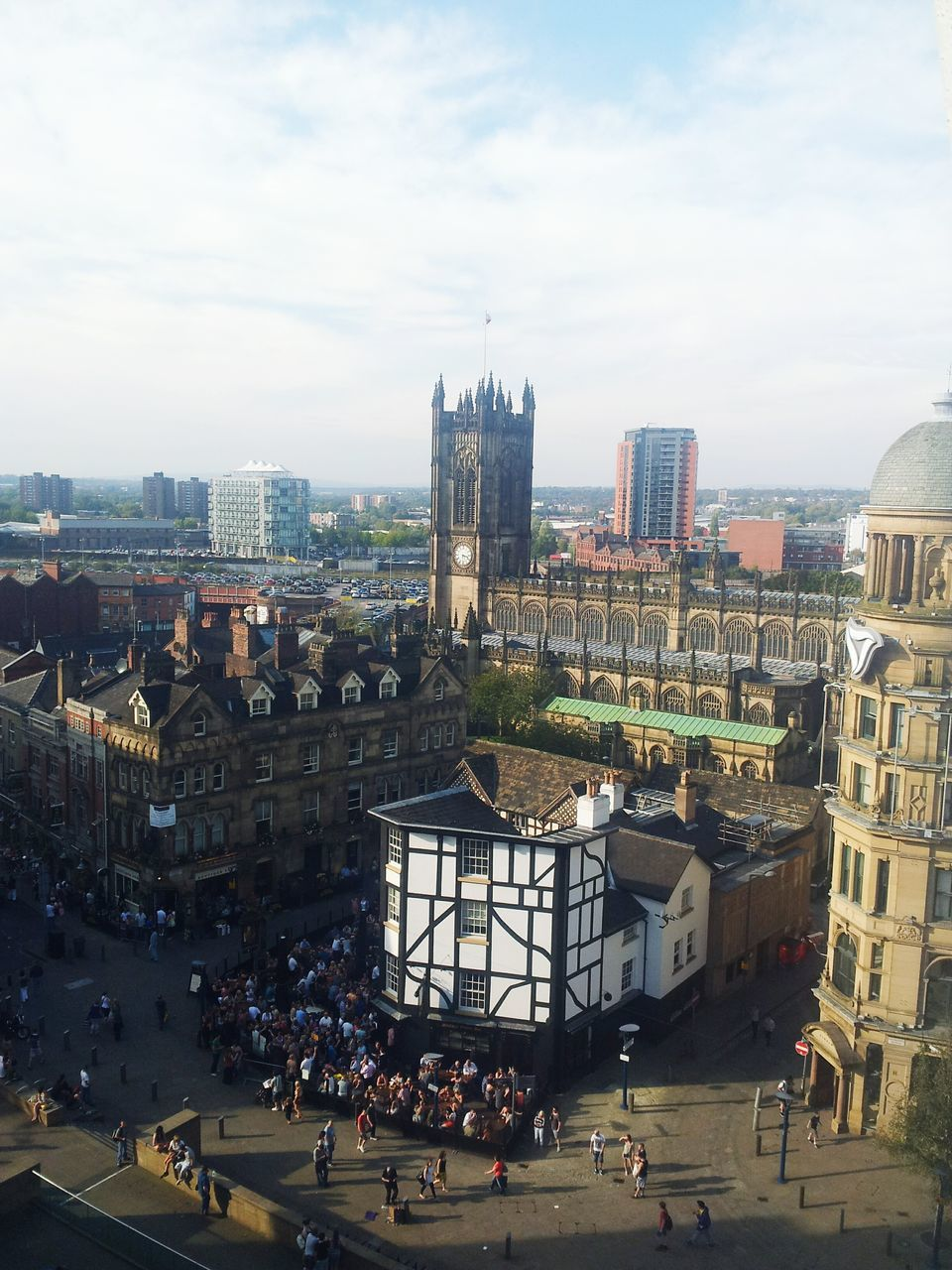 Manchester Cathedral At Exchange Square Against Sky