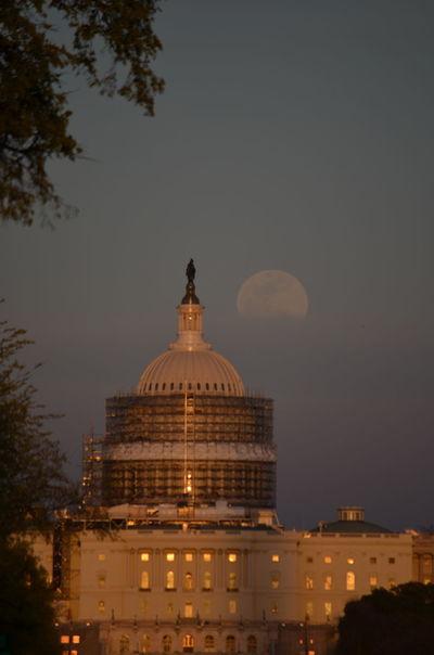 Architecture Building Exterior Built Structure Dome Dusk Famous Place Full Moon History Sky Tourism Travel Travel Destinations US Capitol Building Washington DC