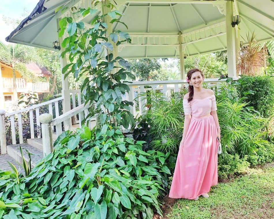 Pink Dress❤ Garden Photography Wedding Greens Blue Pink And Green Girly Pretty Lovely Blossom Leaves Leaves🌿 Bright Daylight