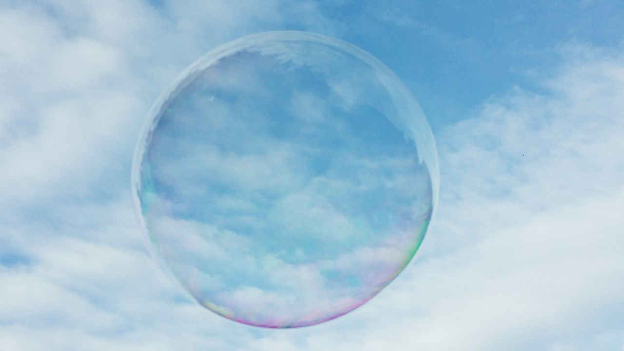 Soapbubble Sky Cloudscape Nature Blue Circle Geometric Shape Scenics Colorful Background Wallpaper