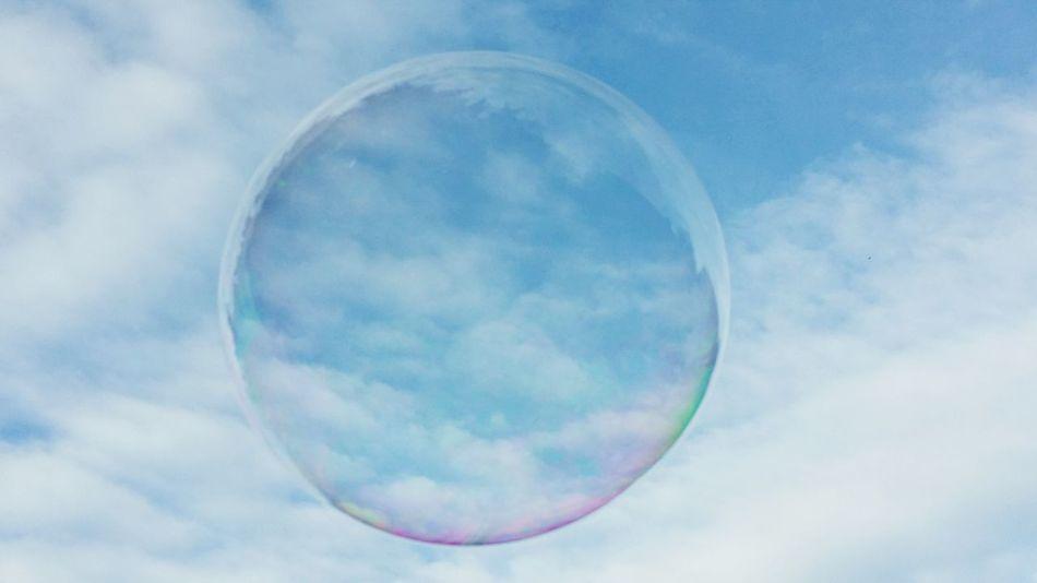 Soapbubble Sky Cloudscape Nature Blue Circle Geometric Shape Scenics Colorful Background Wallpaper