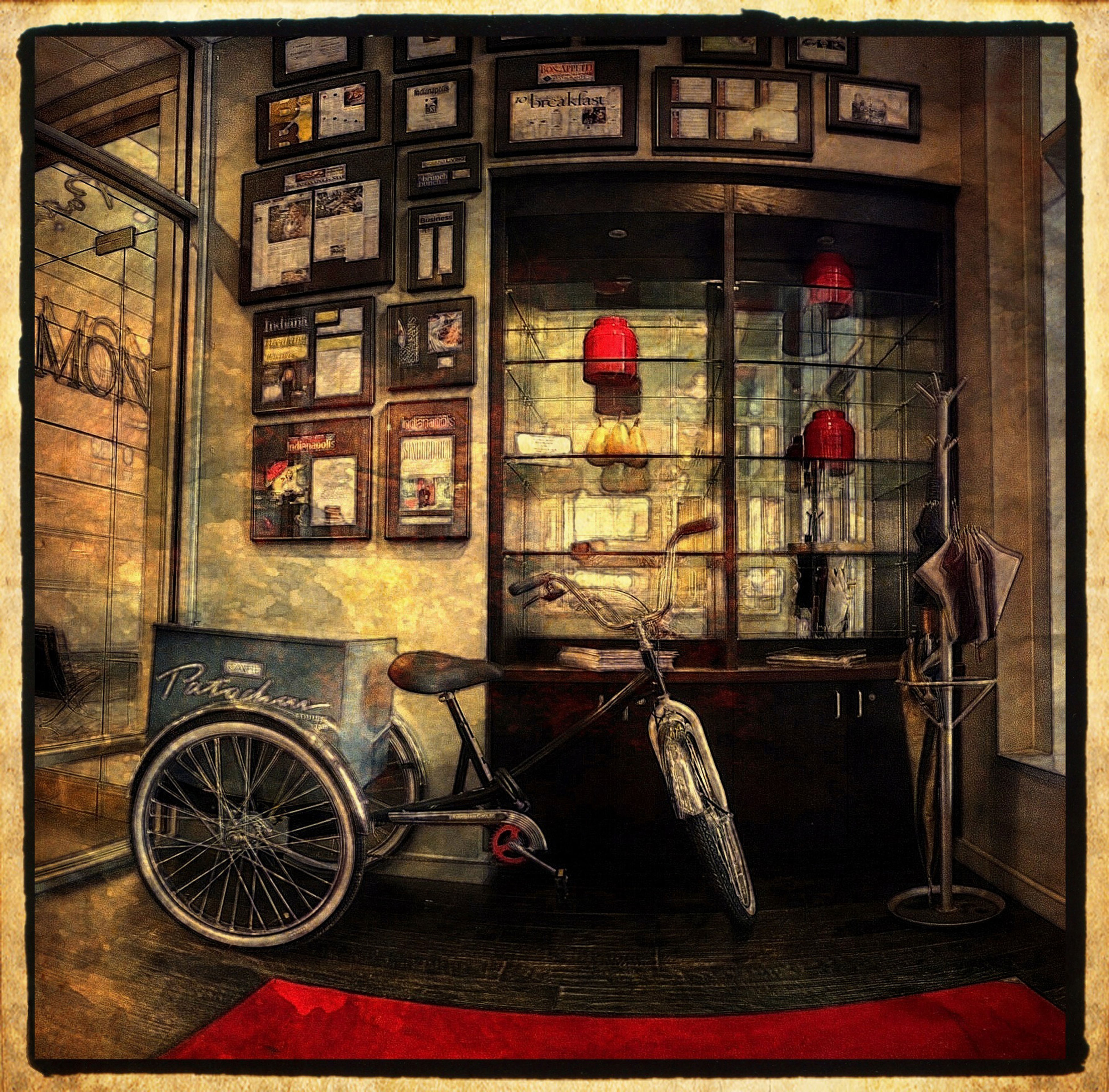 transfer print, window, auto post production filter, land vehicle, mode of transport, indoors, transportation, architecture, built structure, building exterior, stationary, old-fashioned, retro styled, glass - material, car, parked, day, no people, abandoned, absence