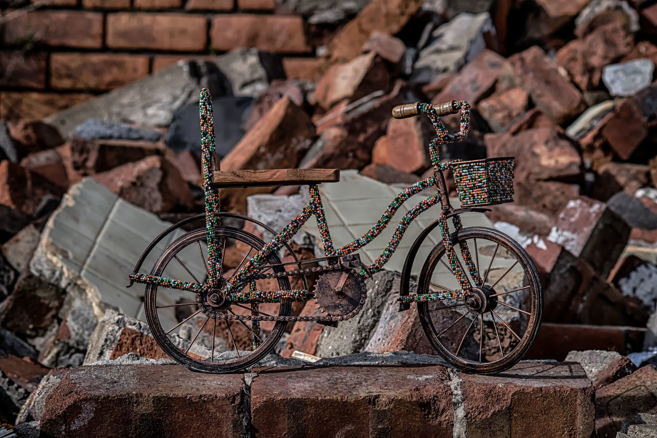 Bricks Brick Building Cycling Architecture Backgrounds Depth Of Field HDR Large Group Of Objects Creativity Industrial Still Life Creative Photography Bicycle Bike Multi Colored Colourful Urban Urban Exploration Outdoors Close-up No People Brick Wall Focus On Foreground Damaged Pearls