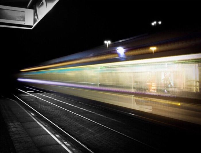 Blurred Motion Speed Transportation Motion Illuminated Long Exposure Night Light Trail Train - Vehicle No People Rail Transportation Railroad Station Public Transportation Railroad Station Platform Architecture Subway Train Indoors  EyeEmNewHere Lieblingsteil Your Ticket To Europe Your Ticket To Europe The Week On EyeEm Connected By Travel