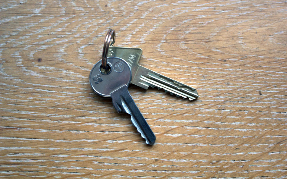 Keys on wooden table. Close-up Day Indoors  Key Key Chain Metallic No People Wood Surface Wooden Floor