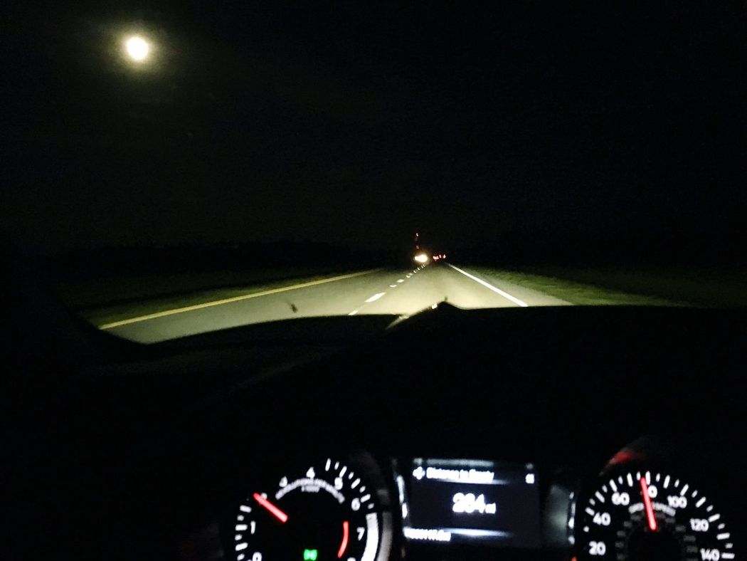 Enjoying Life Night Driving Full Moon in my sight Distant Taillights