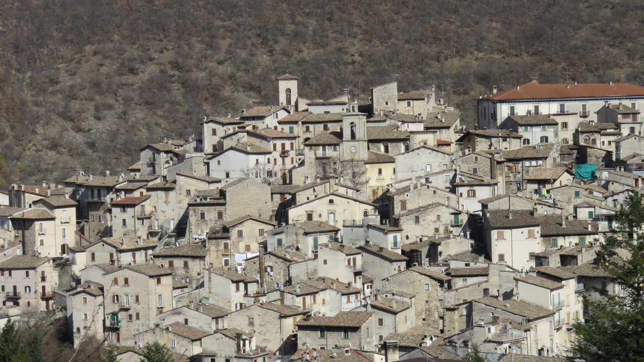 Abruzzo - Italy Architecture Building Exterior Built Structure City Cityscape Community Crowded Day House Mountains Outdoors Residential Building Roof Scanno Town Travel Destinations