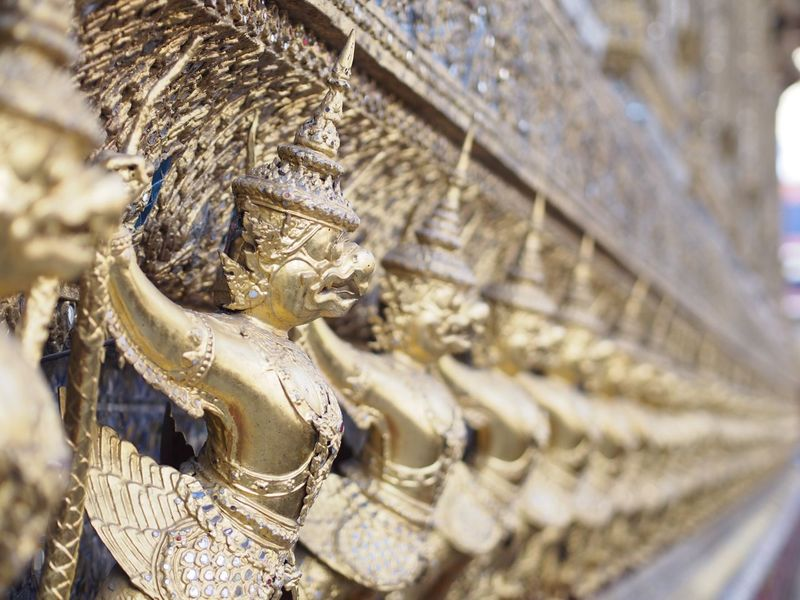 EyeEm Best Edits EyeEm Thailand Statue Religion Human Representation Spirituality In A Row Place Of Worship Sculpture Luxury Gold Gold Colored No People Architecture Close-up Outdoors Idol Day Wat Prakeaw Bangkok Wat Phra Kaew