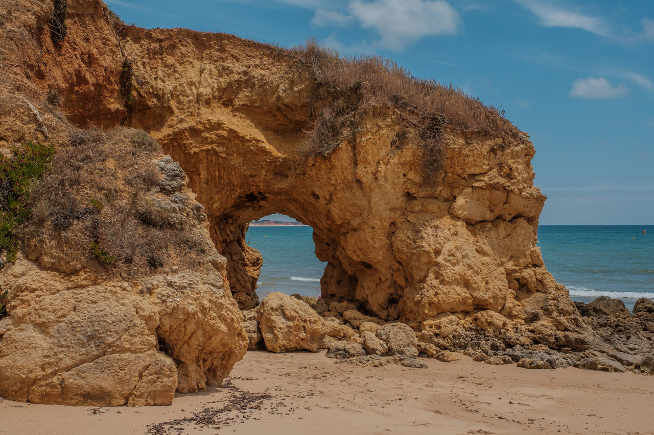 Algarve, Portugal Arch Beach Beauty In Nature Day Horizon Over Water Natural Arch Nature No People Outdoors Rock - Object Rock Formation Sand Scenics Sea Sky Tranquil Scene Tranquility Water