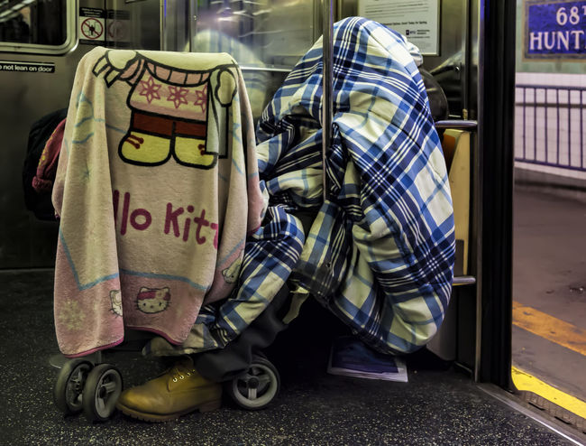 Homeless on NYC subway Addiction Alcoholic Drink Homeless Homeless On NY Subway Homelessness  Poverty Sleeping Rough