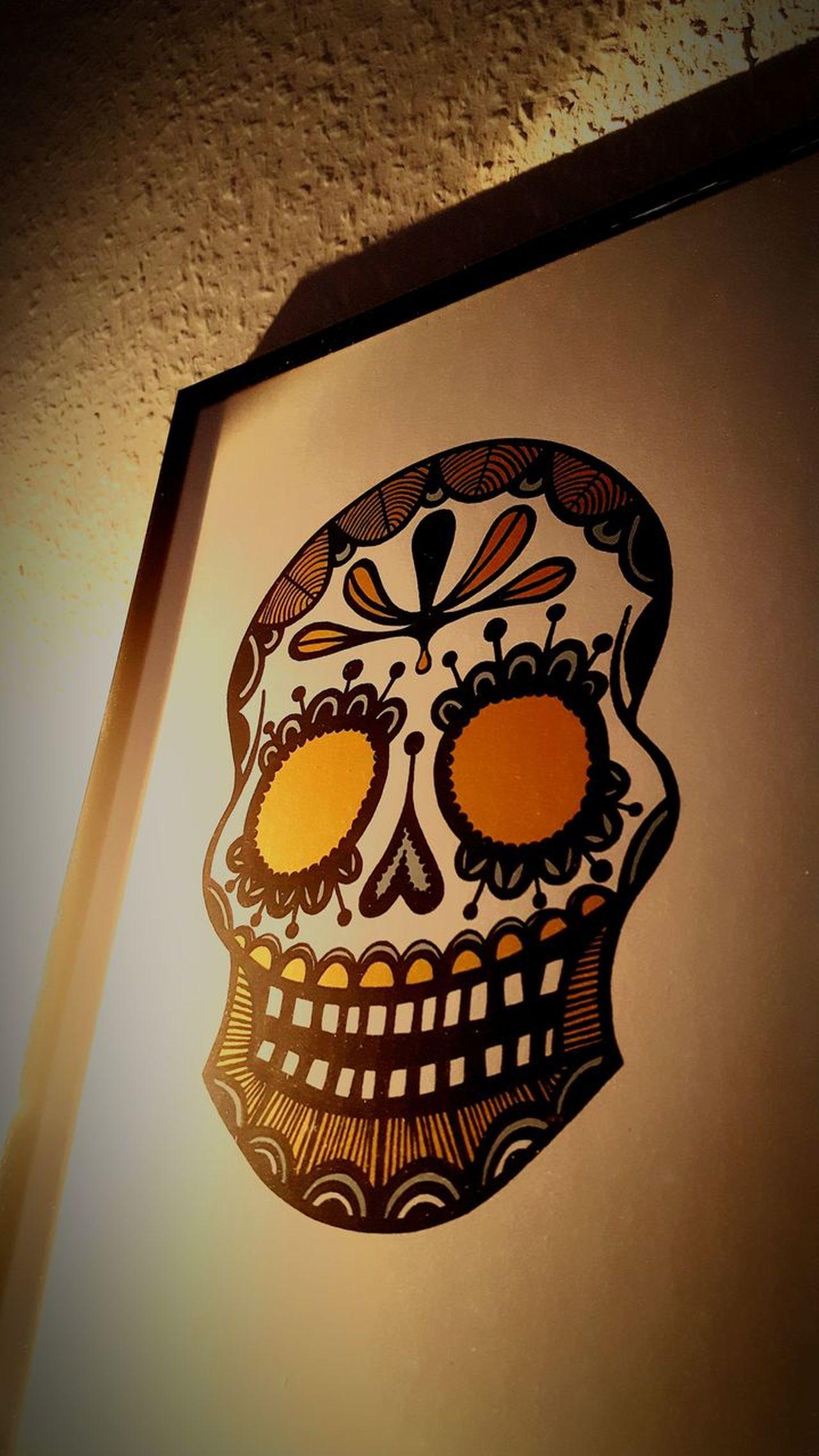 Mexican Skull Mexican Skull Yellow Blue Black Raufaser Raufasertapete Vs Glatt Totenkopf Mexikanisch Frida Kahlo Fridakahlo