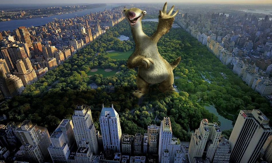 SID is waiting in Central Park Sid Ice Age Central Park New York Skyscrapers