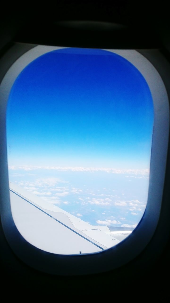 airplane, window, transportation, journey, travel, air vehicle, blue, no people, sky, nature, scenics, day, airplane wing, indoors, landscape, beauty in nature, flying, commercial airplane, close-up