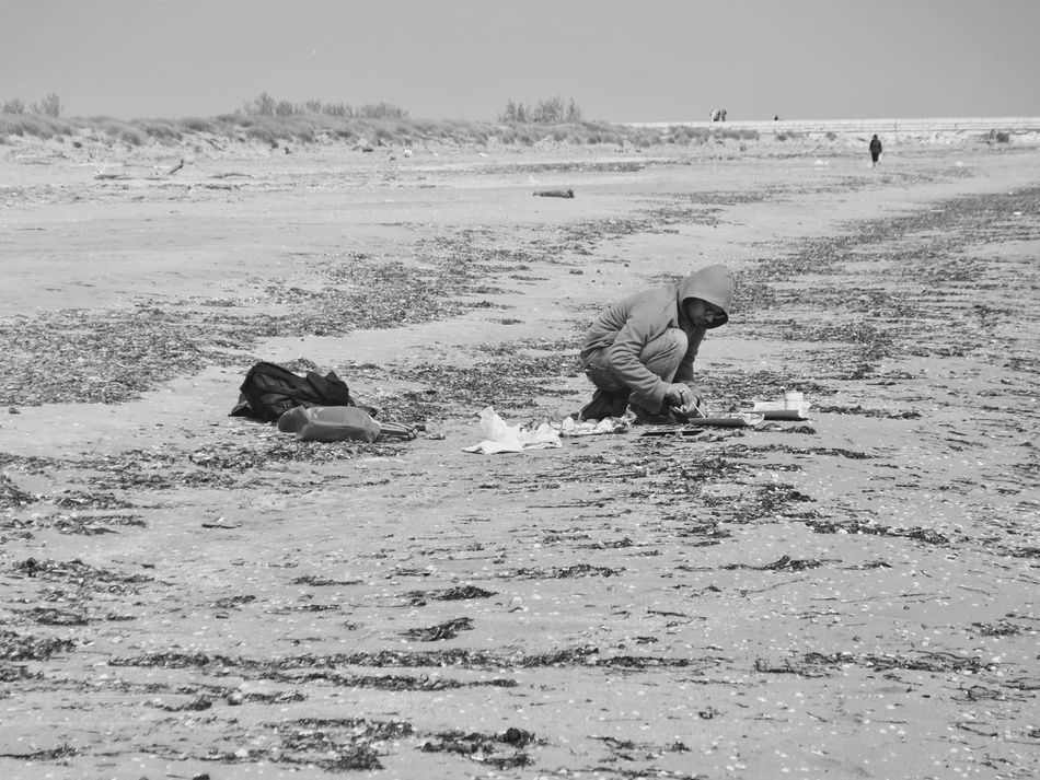 Beach Beachphotography Black And White Black And White Photography Day EyeEm Best Shots EyeEmNewHere Farmer Fisherman Full Length Mammal Manual Worker Men Nature Occupation Outdoors People Real People Sea Sky Solitude Solitude And Silence The Week On Eyem Water Working