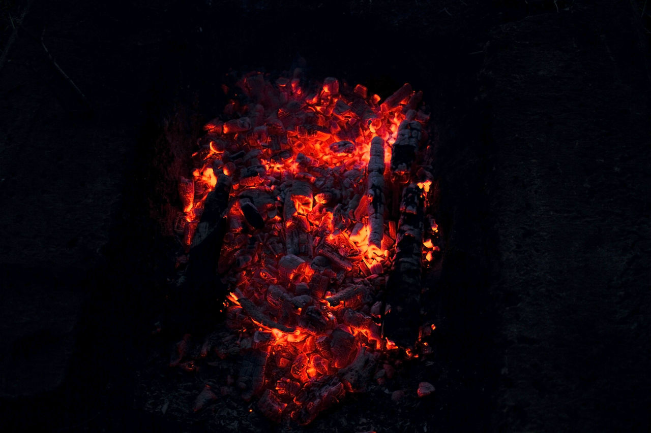 burning, flame, glowing, heat - temperature, no people, night, outdoors, bonfire, high angle view, campfire, close-up