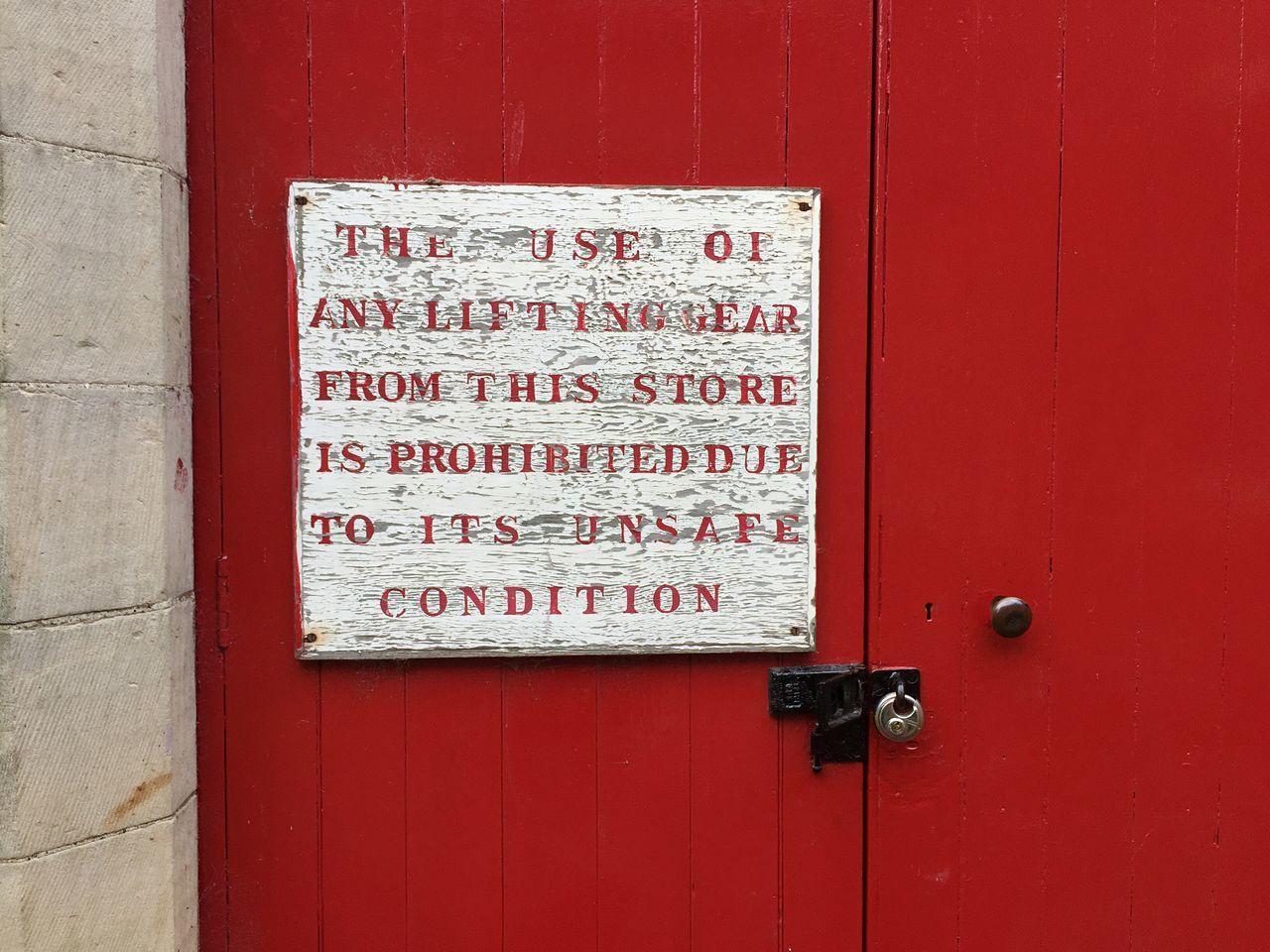 Warning Sign Red Doors Door