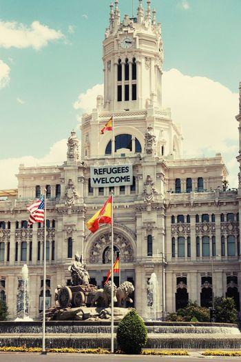 Cibeles Flag City Politics And Government Architecture No People Outdoors Madrid SPAIN Cibeles Cibeles Palace
